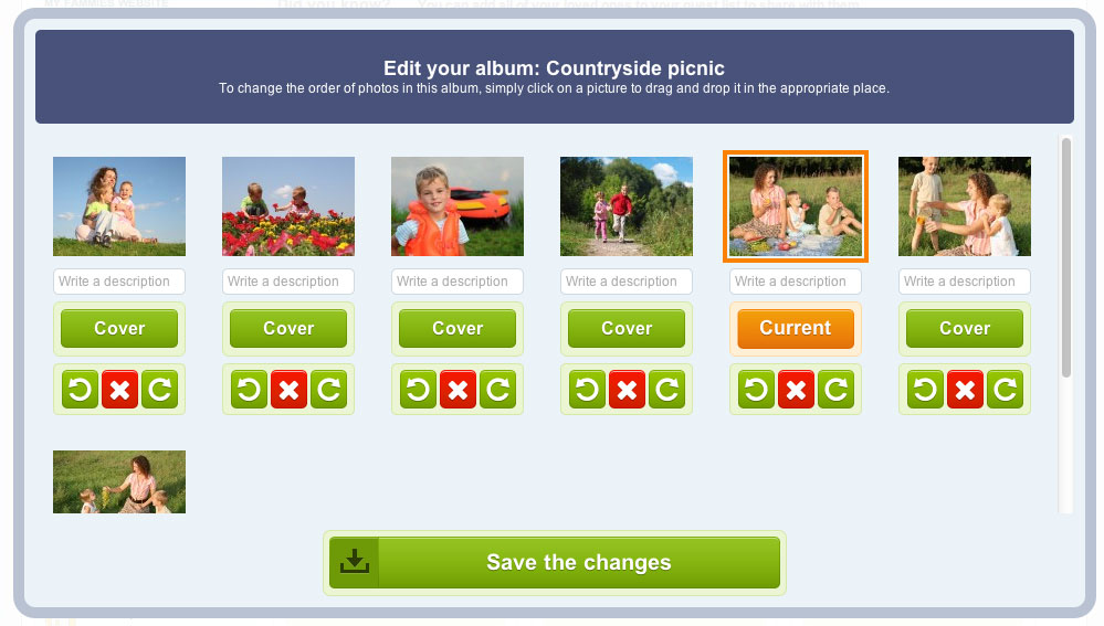 Modify, sort and change the display order and/or date of your photos as you wish