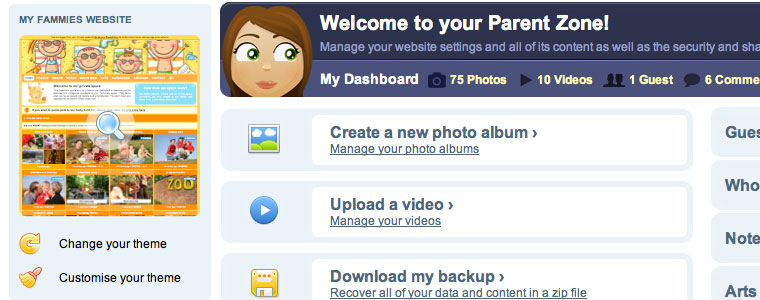 A secure Parent zone to create your blog