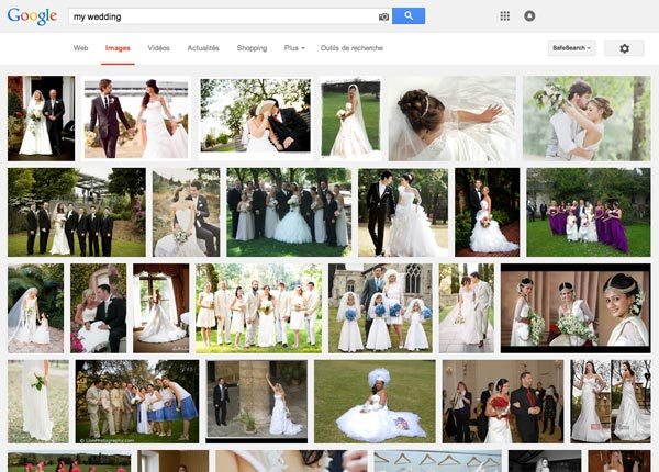 "Typing ""my wedding"" in google images, you can access thousands of personal wedding photos..."